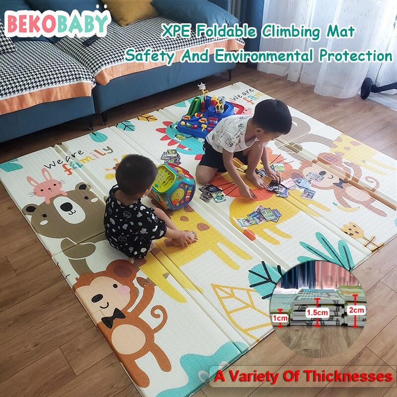 Bekobaby 200*180 سنتيمتر الطفل تلعب حصيرة للطي XPE طفل الزحف وسادة طفل رضيع الحرارية البساط لوحة ألعاب هدية تعليمية اللعب فراش