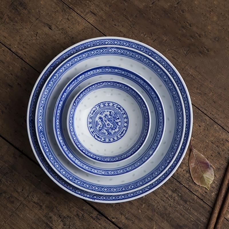 Vajilla de porcelana azul y blanca, vajilla de cerámica, vajilla de cocina, recipiente de comida, vajilla de dragón chino
