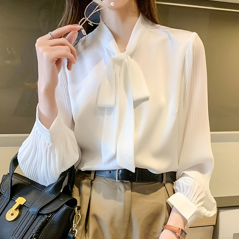 yg-brand-women's-clothing-2021-spring-and-summer-new-white-shirt-women's-long-sleeve-year-bow-loose-fashion-temperament-chiffon