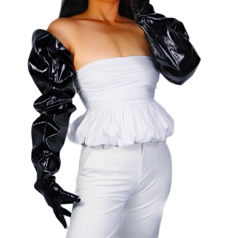 LATEX LONG GLOVES Unisex Black Faux Leather 85cm Wide Balloon Puff Sleeves Large Women Leather Gloves WPU235 long gloves 38cm big sleeves puff sleeves simulation leather imitation leather black unisex dxpu02