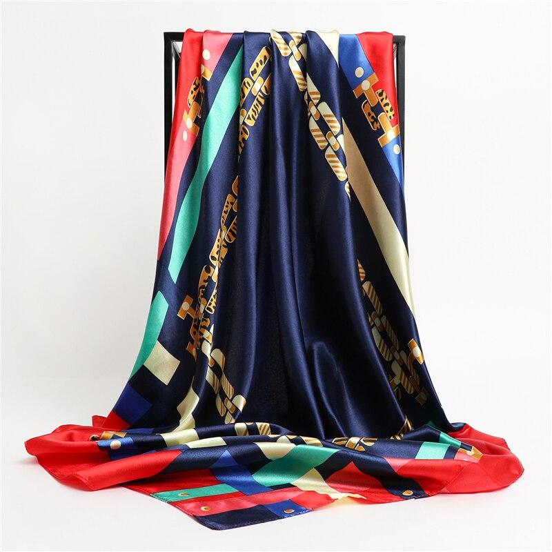 Женский шелковый шарф, квадратный бандана, дизайнерский бренд, повязка на голову, Женский сатиновый хиджаб, шаль, накидка, платок, цепочка с принтом, бандана, Tudung BAWAL        АлиЭкспресс