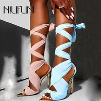 sexy stiletto summer womens sandals 2021 high heels cross ankle straps metal pointed ribbon ladies shoes opentoe sandals female