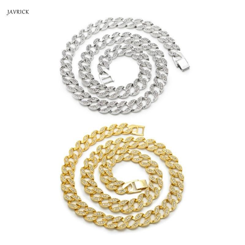 Bijoux Hip Hop or glacé CZ Miami lien cubain chaîne collier Bracelet