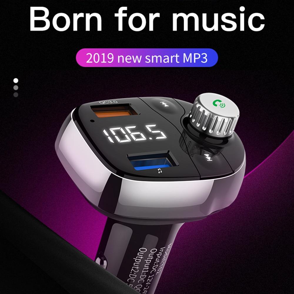 Car Bluetooth Handsfree Car Kit FM Transmitter Modulator Wireless MP3 Player QC 3.0 Car USB Charger