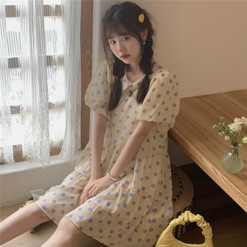 Summer Dress 2021 New Small Fresh Flowers Loose Cover Meat Very Fairy Baby Collar Short Sleeve Dress