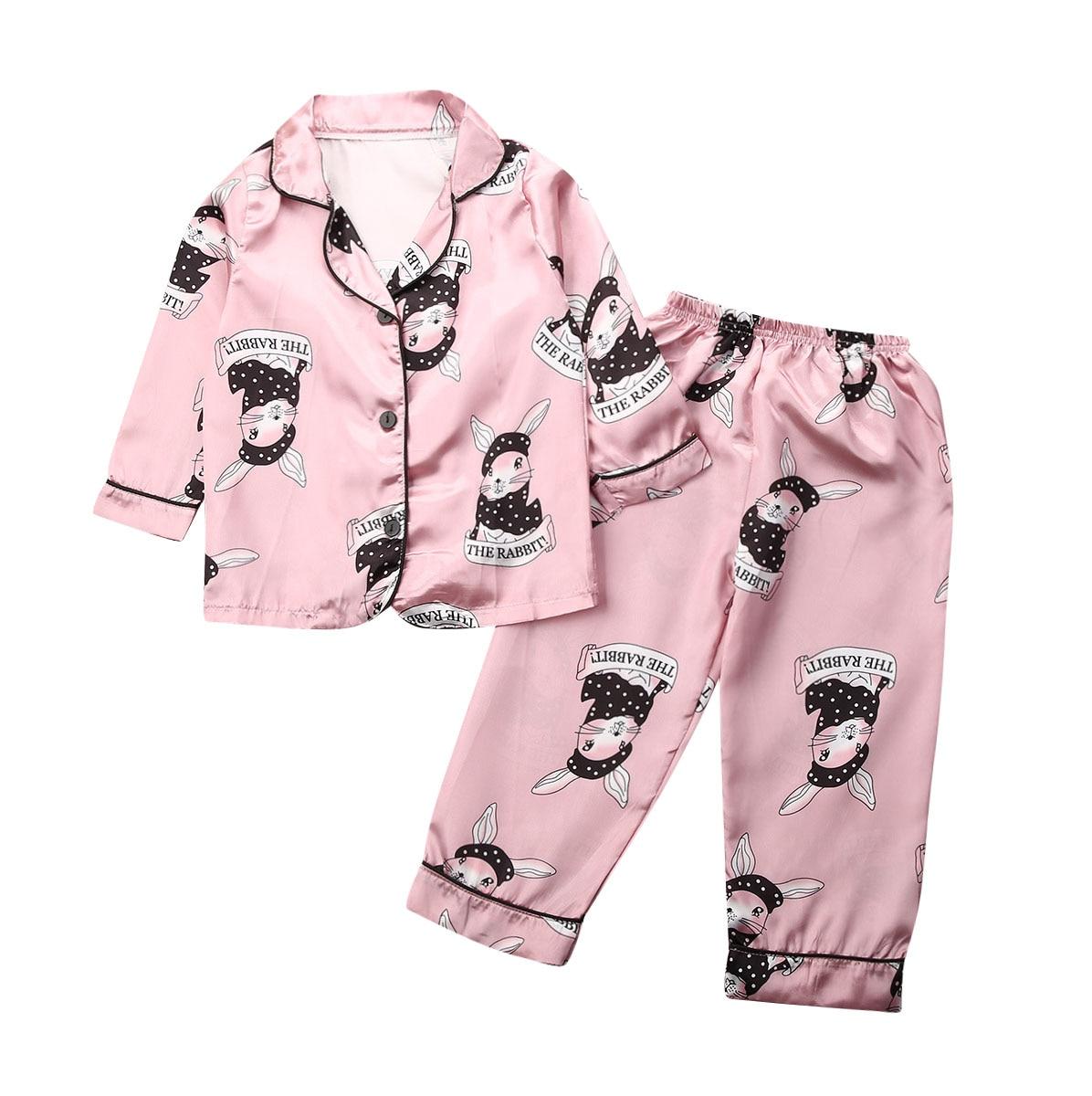 2020 nuevo chico bebé niño niña Satén de seda conjunto de pijamas de manga larga ropa de dormir pijamas traje 2 uds ropa 1-7Y