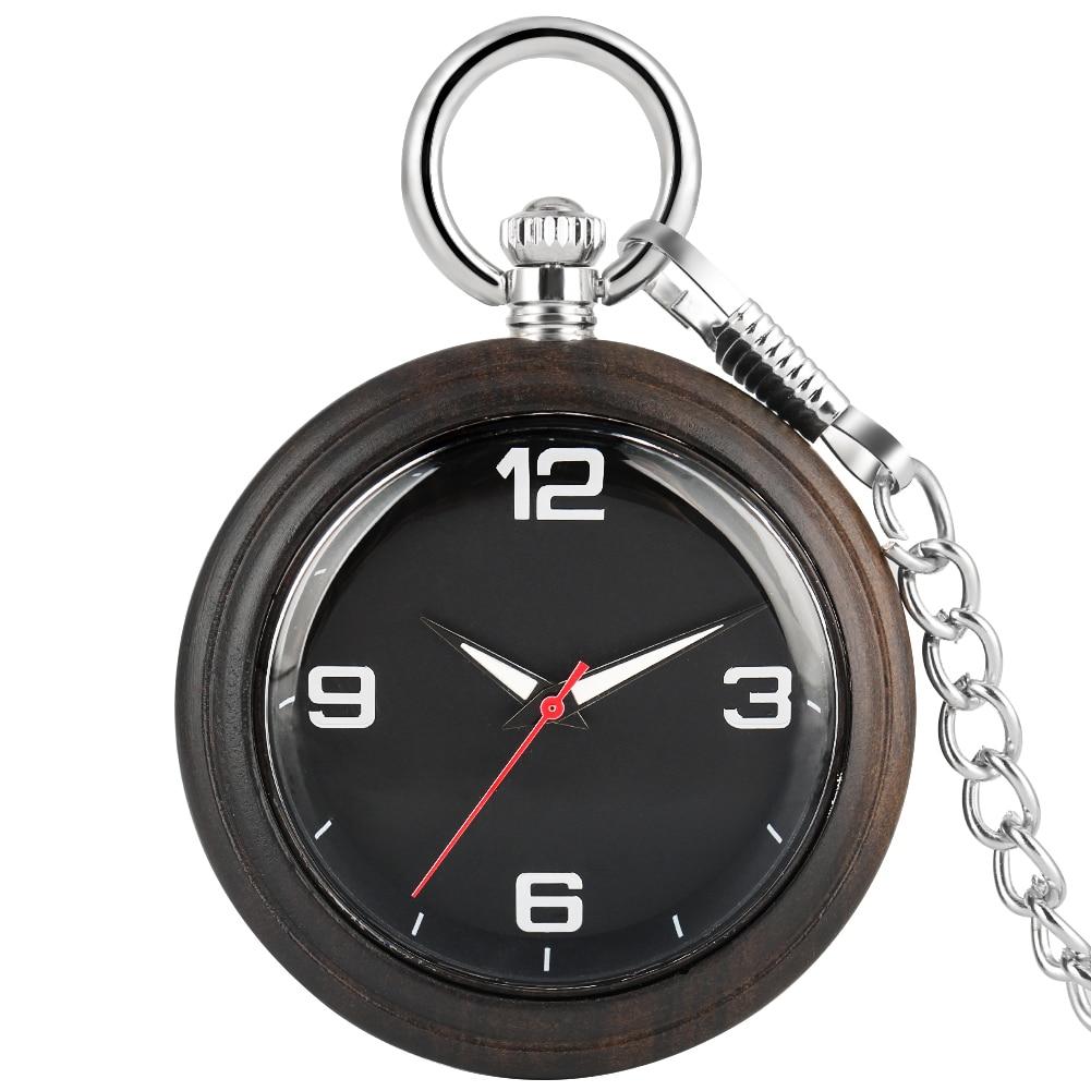 Reloj de bolsillo de madera ébano portátil hombres mujeres conciso árabe números Dial relojes de bolsillo aleación colgante cadena