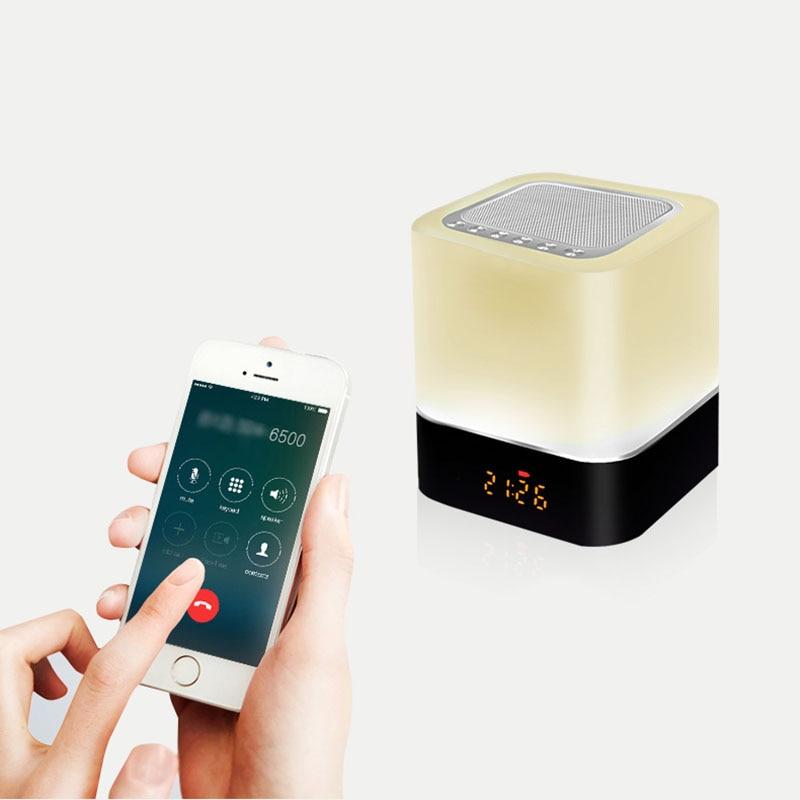 Multifunción 5 en 1 altavoz inalámbrico Bluetooth lámpara de noche calendario Digital despertador Control táctil 1200mAh soporte TF SD