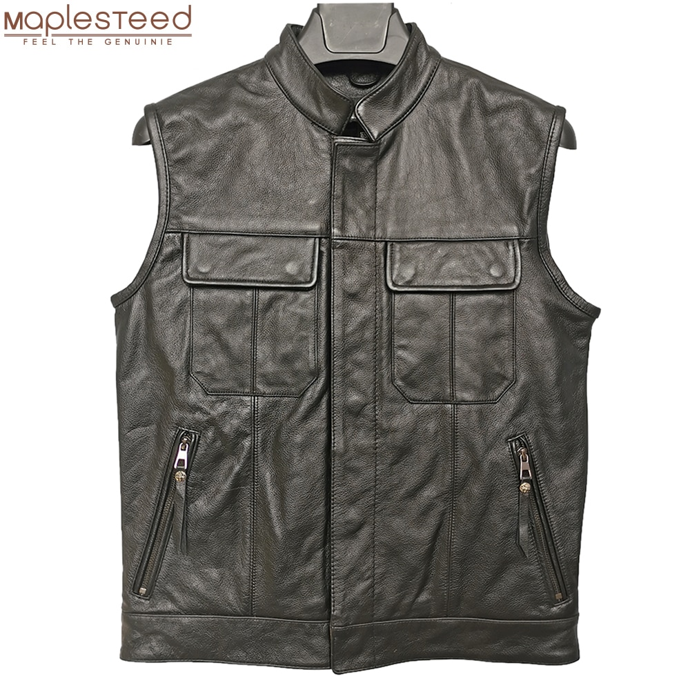 DIY LOGO AND PATCHES Classical Motorcycle Biker Leather Vest Men 100% Genuine Cowhide Waistcoat Sleeveless Asian Size M-5XL M489