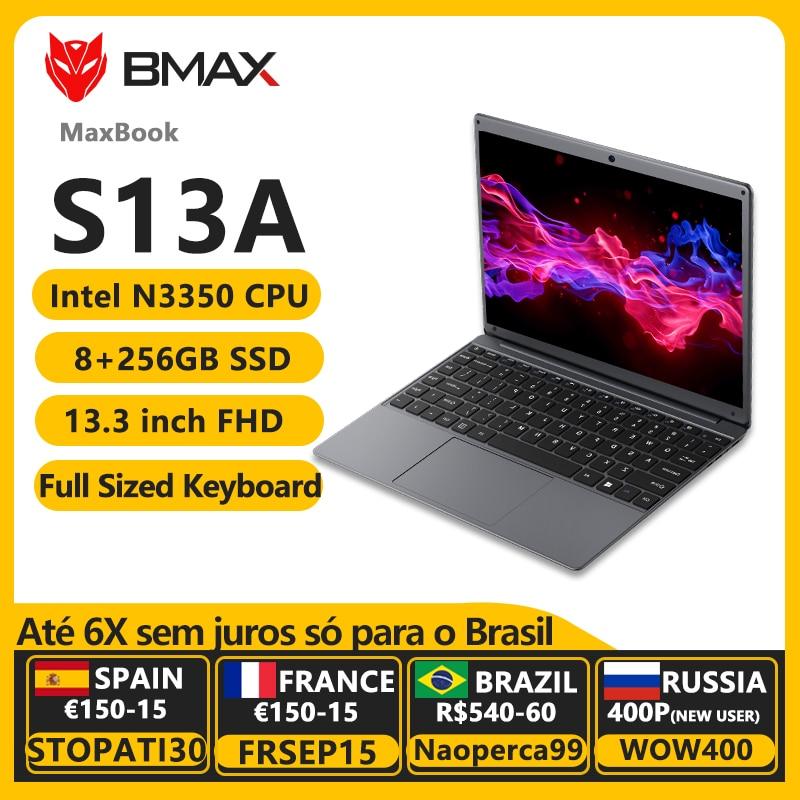 Newest BMAX S13A 13.3'' Celeron N3350 1920x1080 IPS Notebook 8GB RAM 128GB ROM Laptops Windows 10 Computer13P