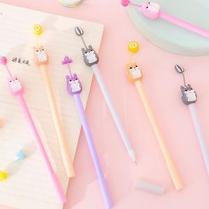 Офисная ручка для девочек, очаровательный питомец, хомяк, силикагелевая ручка, творческие принадлежности для учеников, черные письменные п...