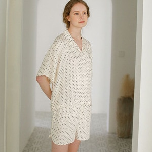 2 Pieces Summer Pajamas for Women Viscose Dot Print Pajamas Short Ladies Sleepwear Nightie Femme Home Clothing Pyjama Suit Sets
