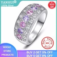 yanhui luxury female girl crystal cz stones ring boho 925 silver pink ring promise engagement rings for women ra0152