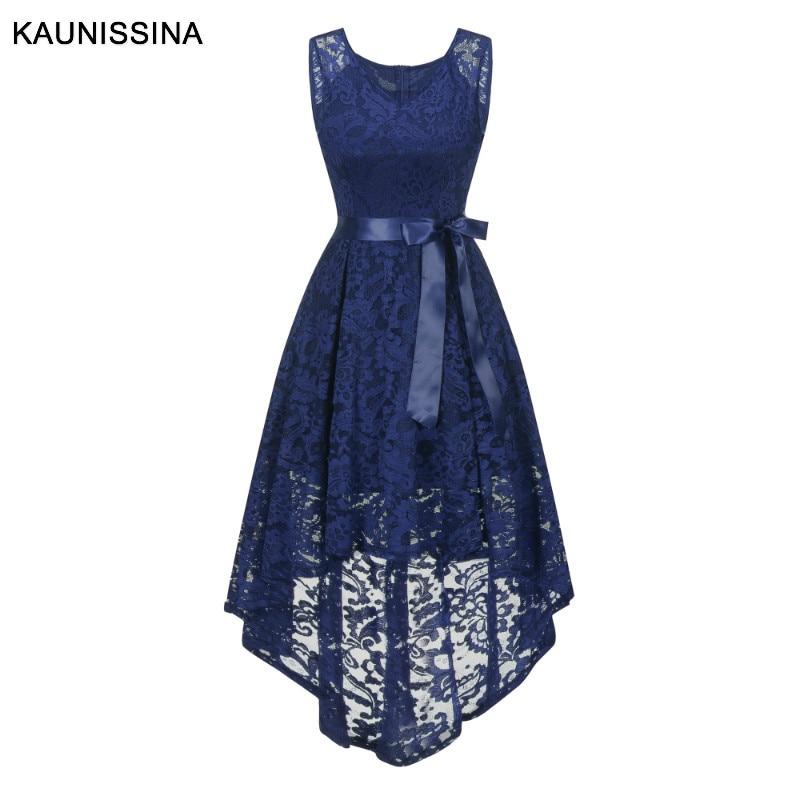 KAUNISSINA-فستان سهرة أنيق للنساء ، ياقة على شكل v ، بلا أكمام ، غير متماثل ، فيونكة ، فستان كوكتيل ، صيف