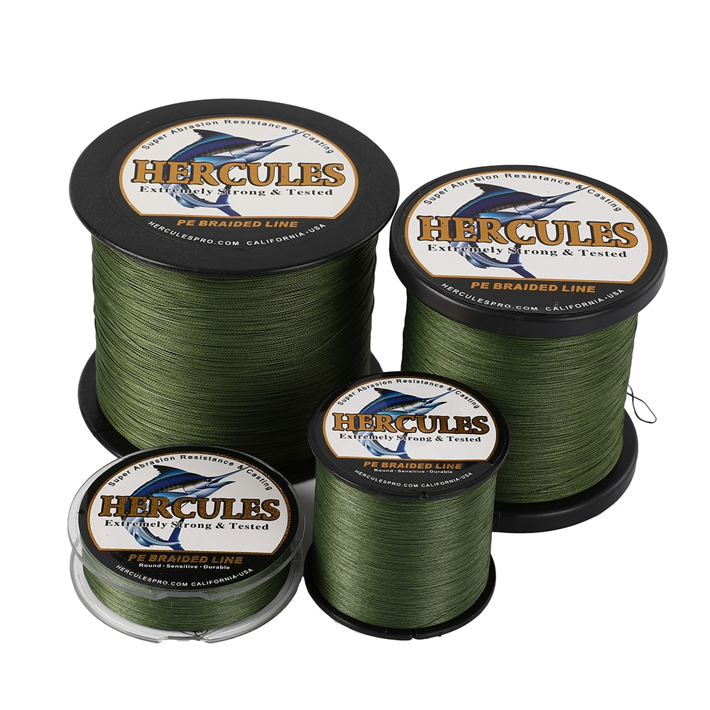 Hercules No Color Loss Braided Fishing Line 8 Strands Green 100M-1000M 10-120LB Super Pe Professional Use of Fishing Games enlarge
