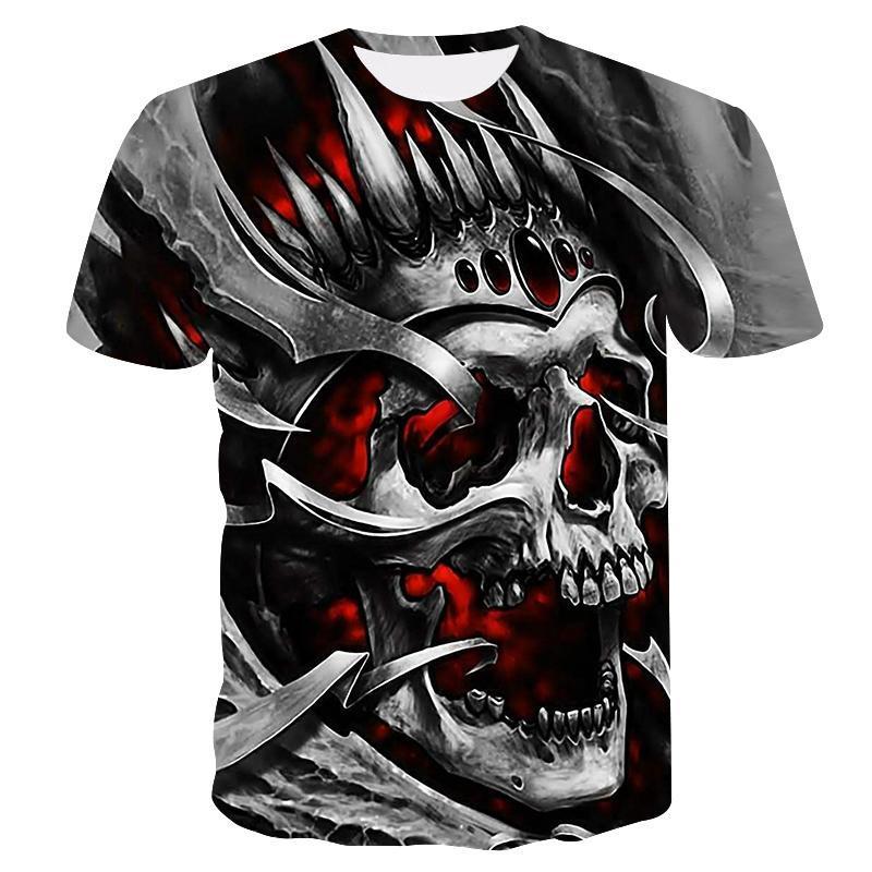 Camiseta informal con estampado 3D de calavera para hombre y camisetas de...