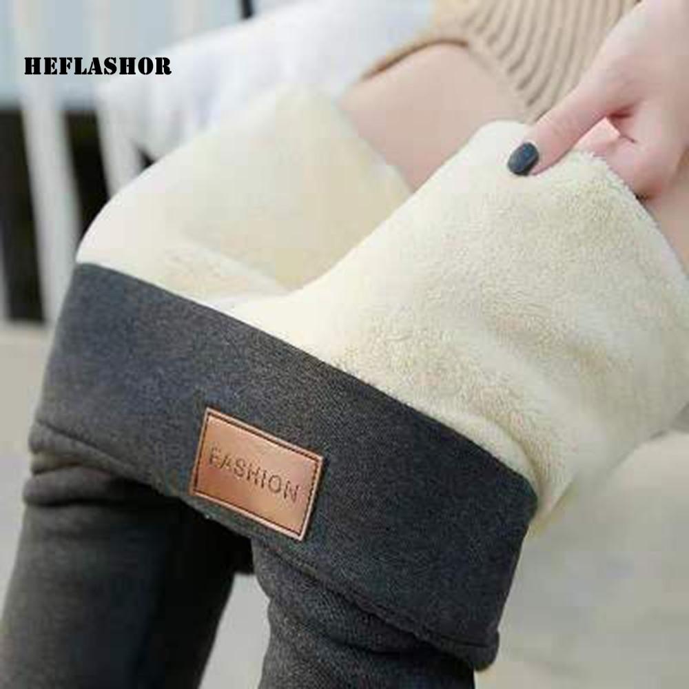 Heflashor calças quentes inverno magro grosso veludo lã de lã de lã leggings meninas calças femininas pele de cordeiro calça de caxemira leggings femininos