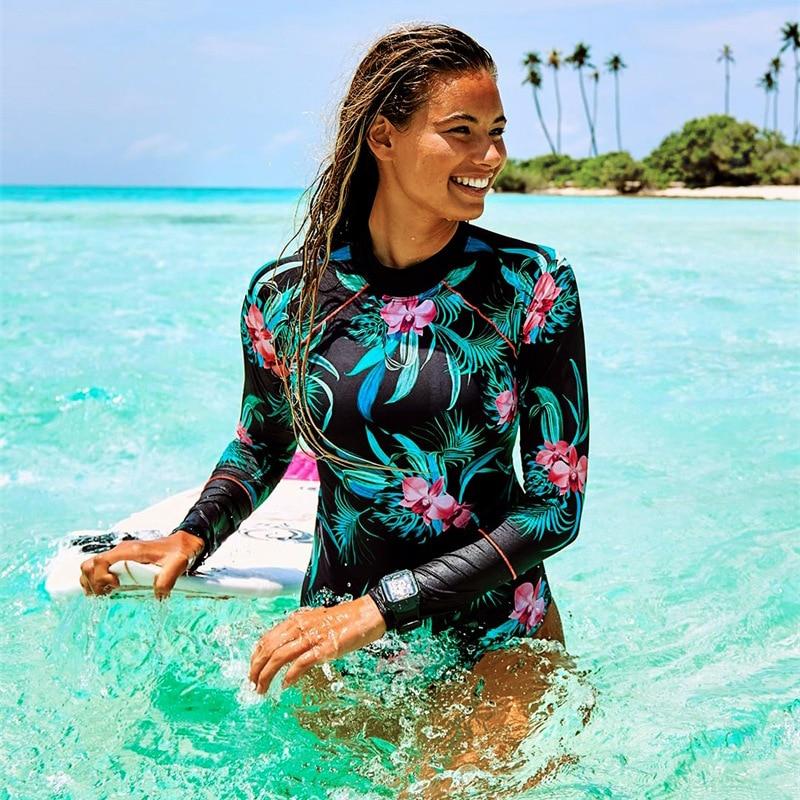 Long Sleeve Rash Guard Swimwear Women Floral Print Swimsuit Zipper Swimwear Surfing Suit Diving Suit Push Up Bathing Suit beach