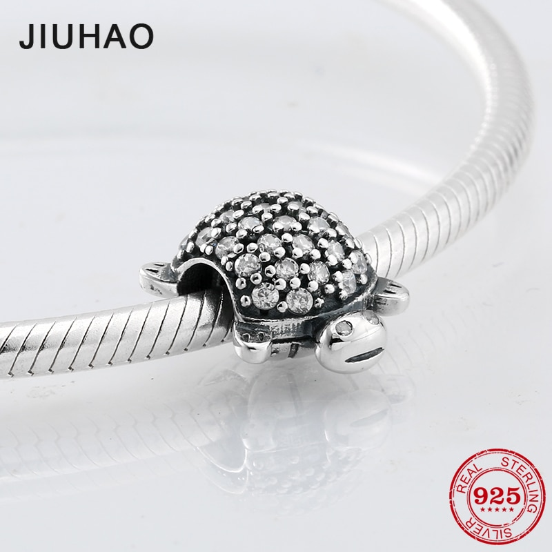 Real cute turtle beads 925 Sterling Silver pave Crystal zirconia bead Fit Original Pandora Charm Bracelet Hot sale jewellery