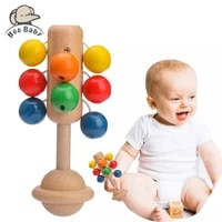 0 12 months baby toy hand rattle 1pc wooden interactive babies toy for newborn baby toys colorful educational childrens toys