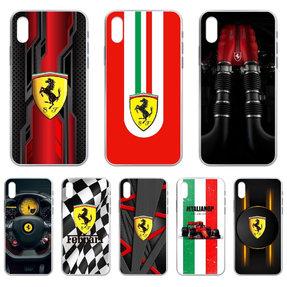 Funda de lujo deportiva para coche Ferrari F1 para iphone 4 4S 5 5C 5S 6 6S PLUS 7 8 X XR XS 11 PRO SE 2020 MAX transparente
