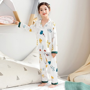 Children's Pajamas Ice Silk Spring Summer Thin Girls Long-sleeved Boy Sets Suit Home Clothes Cute Kids conditioning Clothes