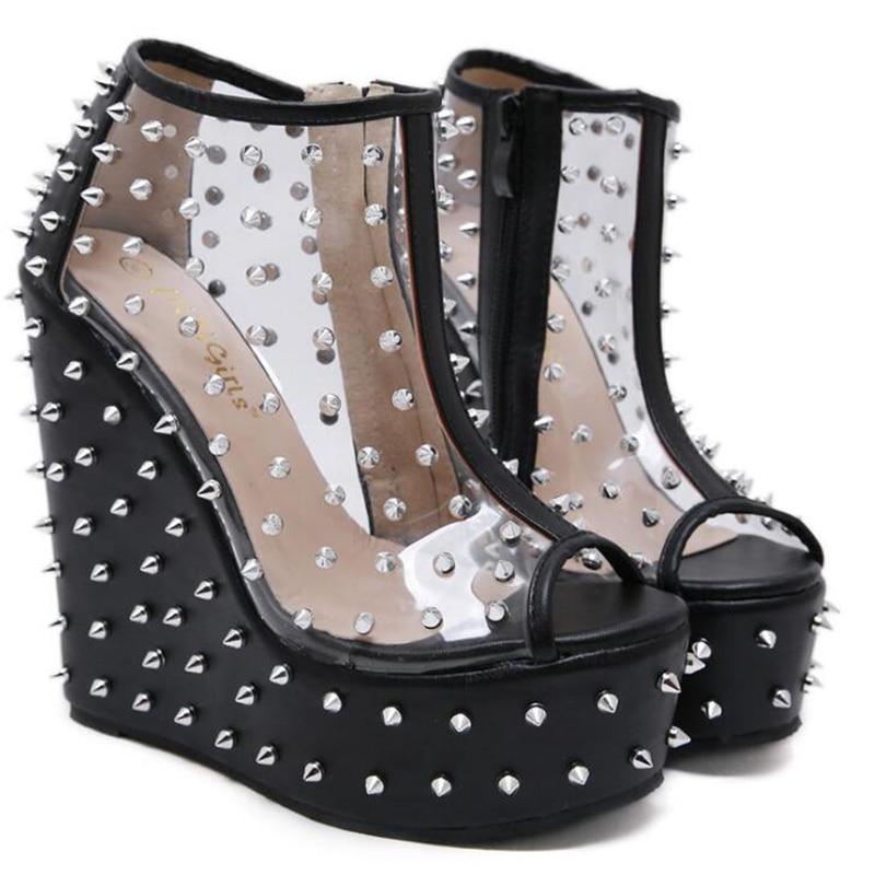 الصيف منصة الصنادل أسافين أحذية للنساء زقزقة اصبع القدم الصنادل المرأة الإناث أحذية 15 سنتيمتر عالية الكعب الصنادل Chaussures فام