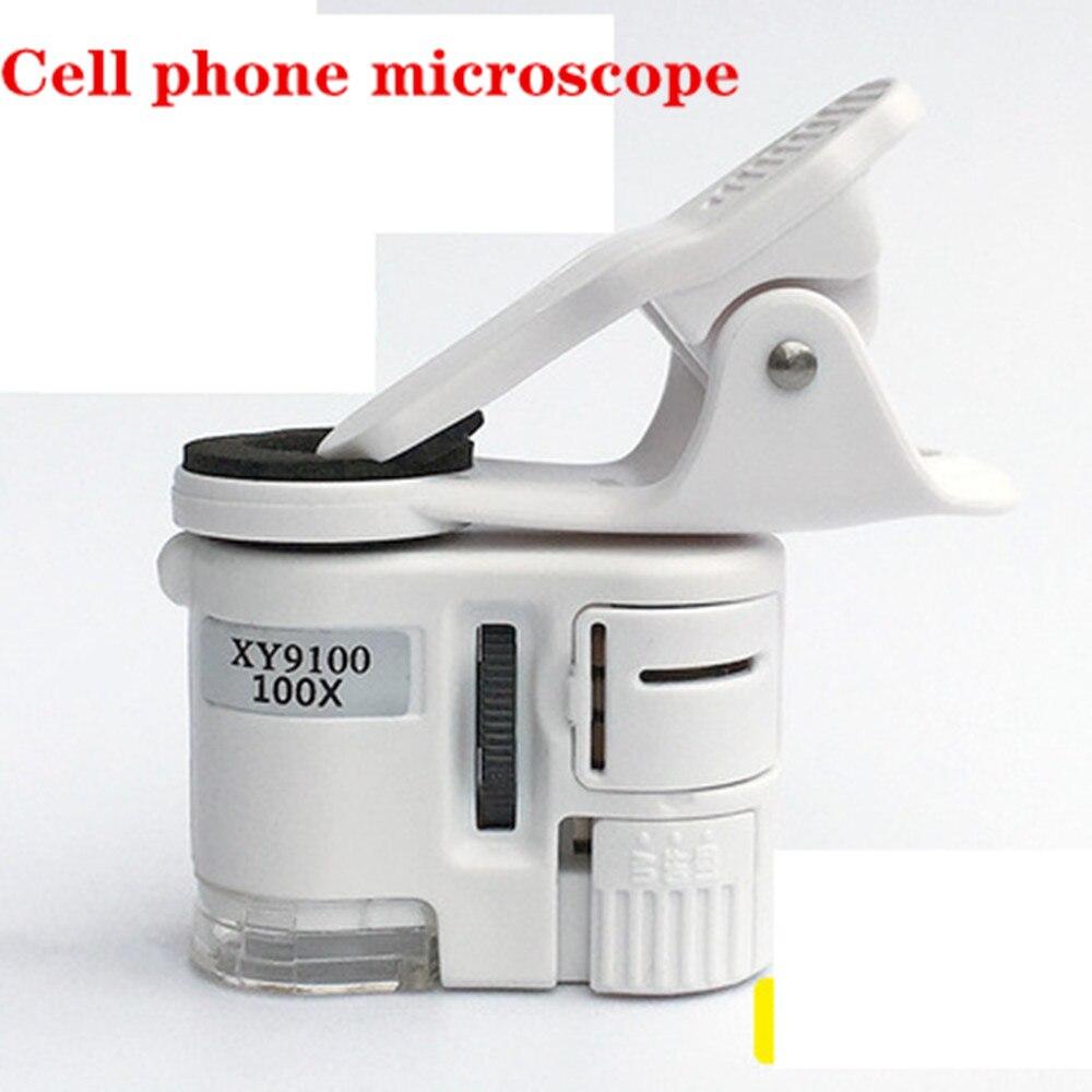 Clip Universal 100X LED joyería lupa enfoque bolsillo ajustado teléfono celular Clip UV luz microscopio