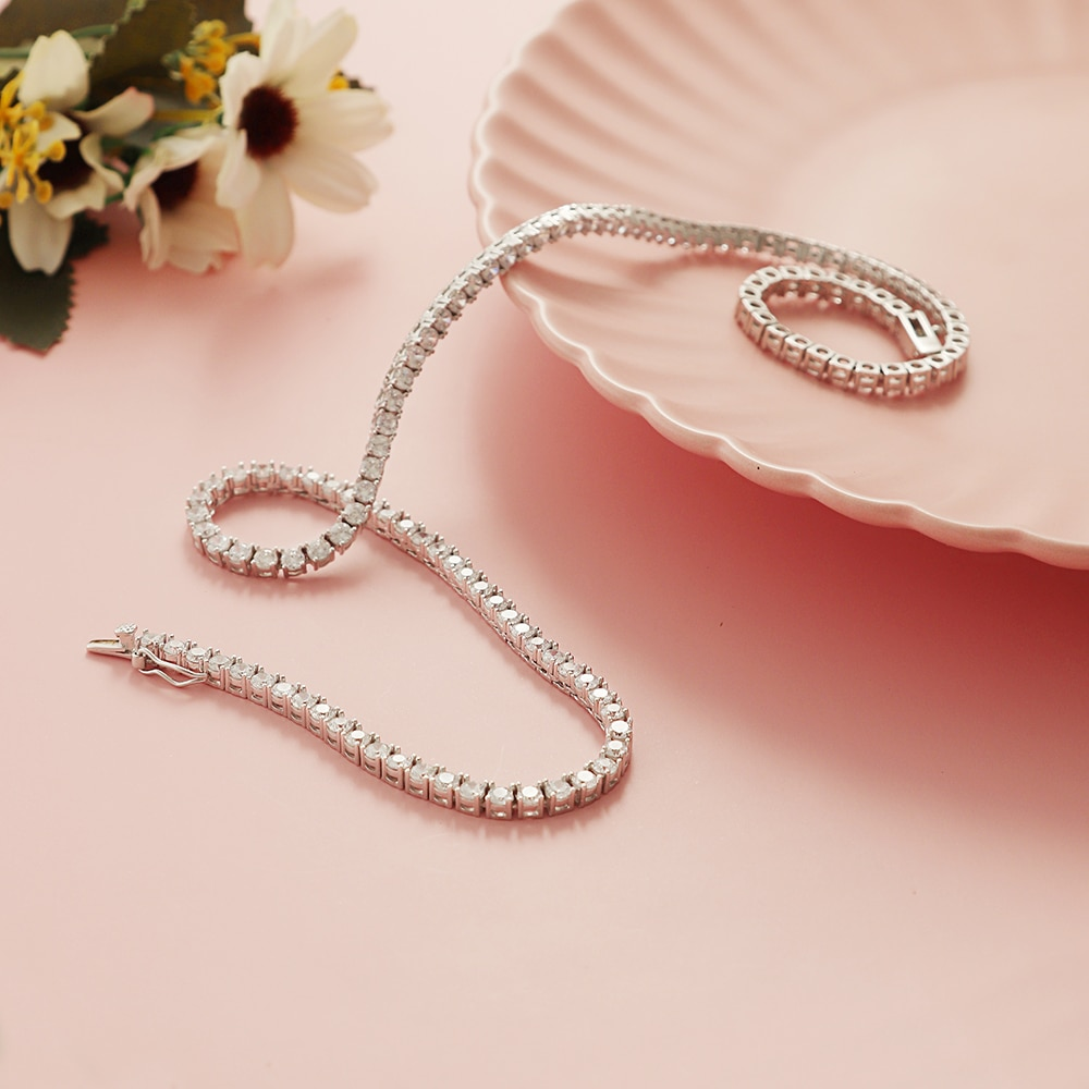 100% Guarantee Solid 925 Sterling Silver 41/45/50/55CM Tennis Necklace 3/4mm Sparkly Zircon Unisex Chain Choker Fine Jewelry