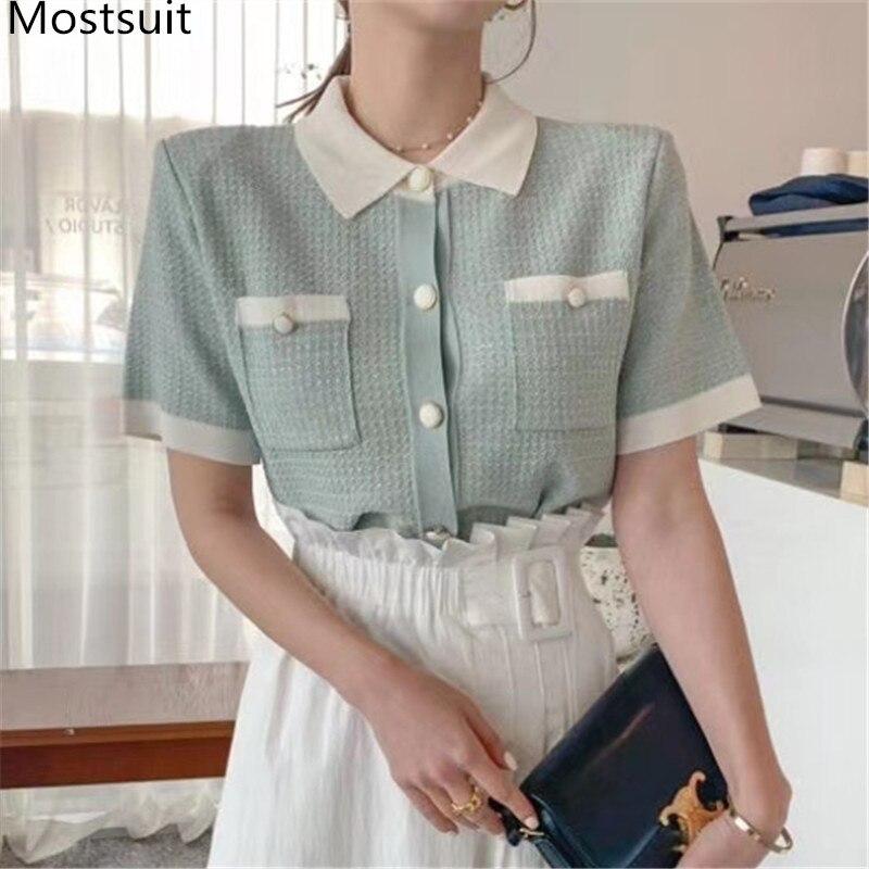 ¡Verano 2020! Camisetas tejidas Vintage coreanas para mujer, camisetas de manga corta con cuello vuelto, camisetas tejidas a la moda de un solo pecho