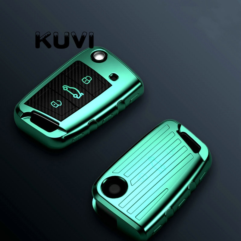 Capa de chave de carro tpu macia, de carbono, para volkswagen vw golf 7 mk7 seat ibiza leon fr 2 altea aztec para skoda octavia