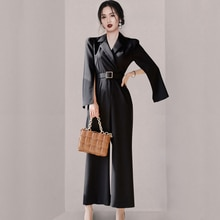 Jumpsuits Women Spring New Arrival Korean Style Notched Neck Long Slim Full Length Jumpsuits Overall