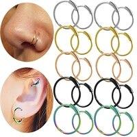 gothic piercing nose rings for women men simple hip hop hoop earrings stainless steel lip nose navel rings body piercing jewelry