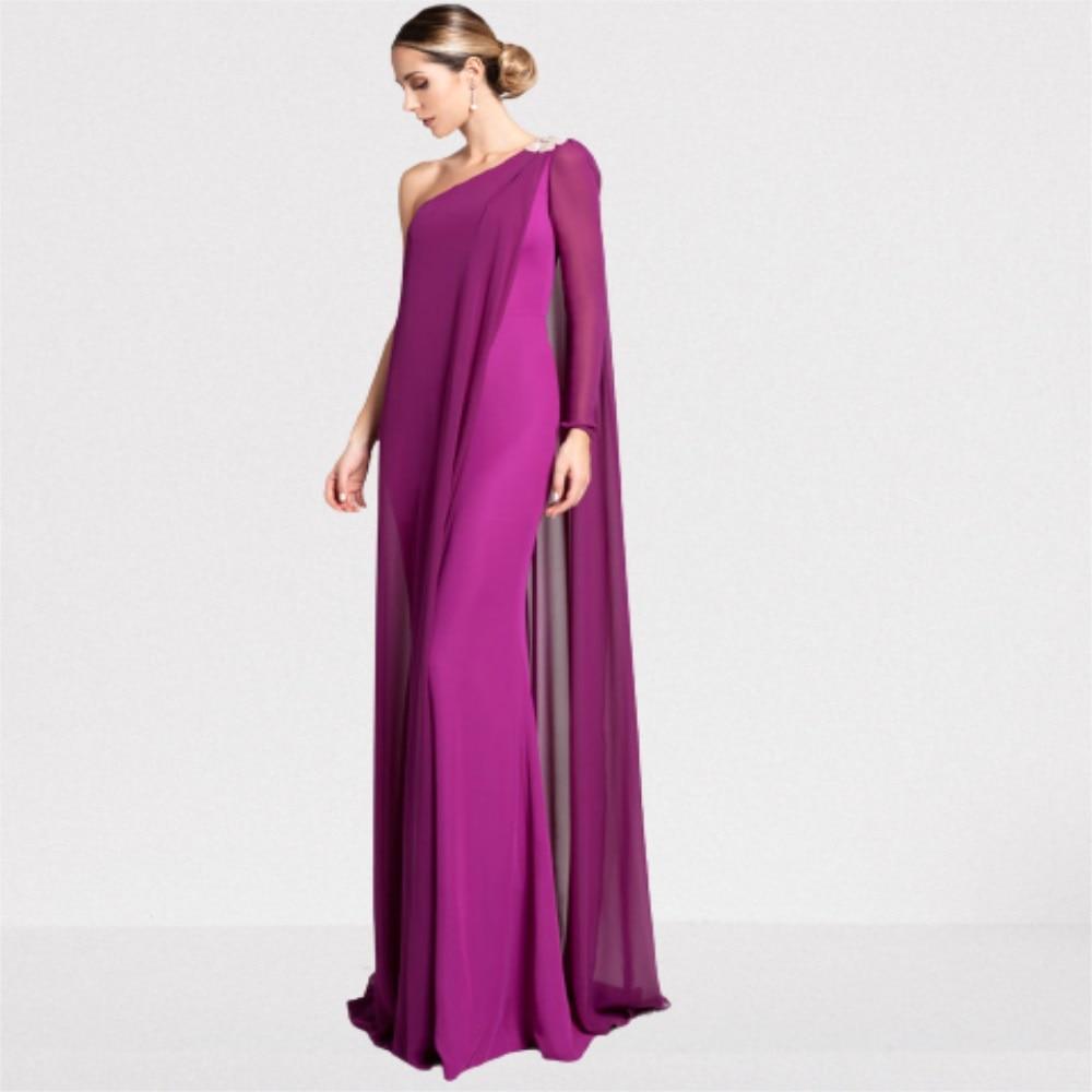 فستان للحفلات الراقصة بكتف واحد وأكمام طويلة وغمد من الساتان المرن من الشيفون بطول الأرض فساتين سهرة رسمية