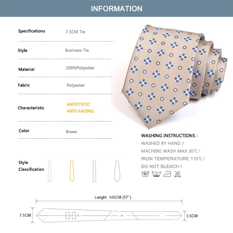 2020 Brand New Mens 7.5CM Wide Tie High Quality Fashion Formal Ties For Men Business Work Necktie with Gift Box