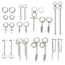 Ensemble de boucles doreilles en acier et titane, 12 paires, mode coréenne Kpop, ensemble de boucles doreilles en plume croisée, chaîne et cerceau unisexe