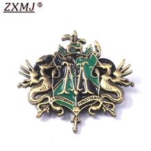 ZXMJ acosado broche Pin Potter Hogwarts cuatro La Universidad Draco Malfoy familia heráldica placa pines para los Fans Regalos de joyería