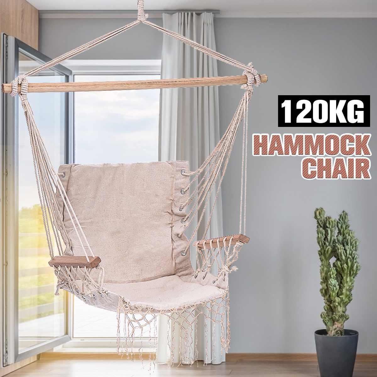Cotton Rope Hammock Chair Hammock Swing Hanging Chair Outdoor Indoor Home Garden Hanging Rope Chair Swing Chair Swinging Bed