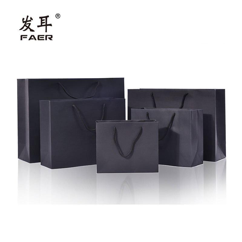 Bolsa de papel con flores para embalaje de regalo, color negro