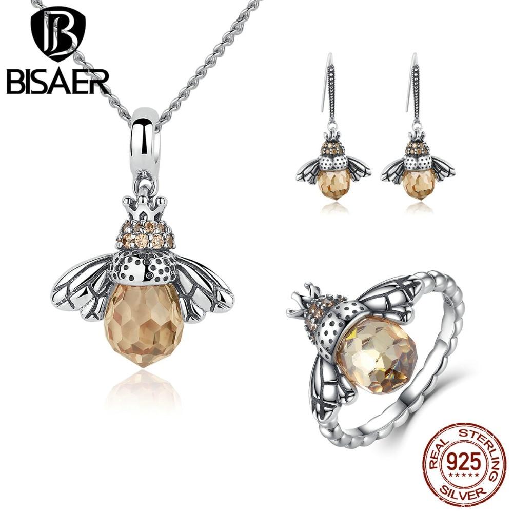 BISAER 925 стерлингового серебра Милые оранжевые пчелы животных подвески ожерелья и серьги-гвоздики и кольцо Мода Циркон Дубай ювелирные наборы
