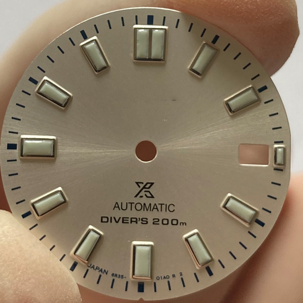 Watch Parts Modify Dial 28.5mm White Watch Dial Luminous Marks Date Window Suitable For NH35/NH36 Automatic Movement enlarge