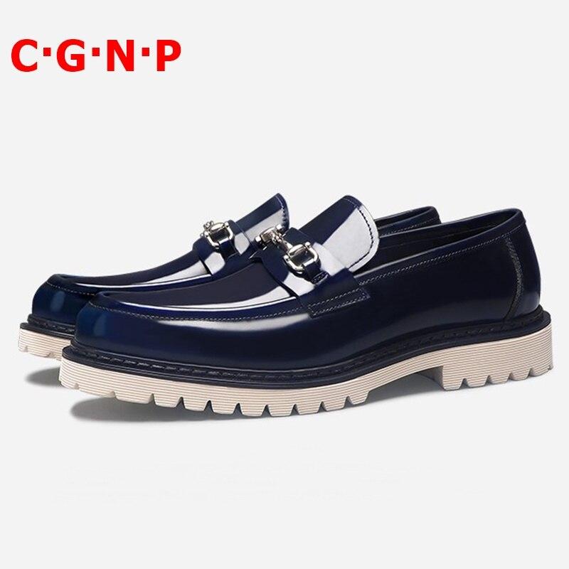 Mocassins de Couro de Patente de Alta Deslizamento em Sapatos de Vestido de Moda Masculinos de Baile e Casamento Qualidade Homens Solas Grossas Sapatos Casuais c · g n p