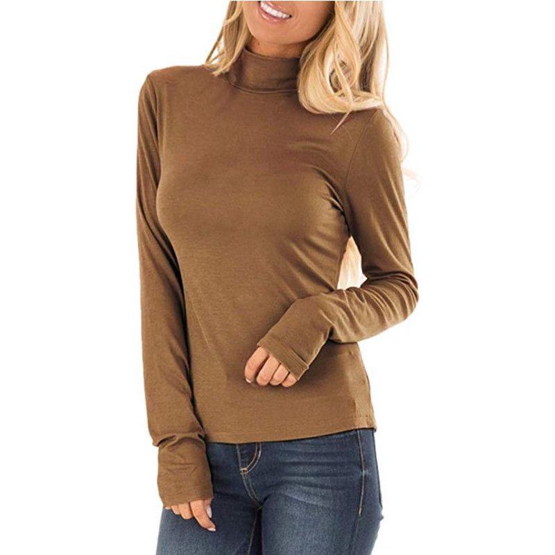 Otoño Casual camiseta para mujer nuevo Color sólido manga larga Slim Fit camisetas señoras cuello tortuga negro Tops básicos tee