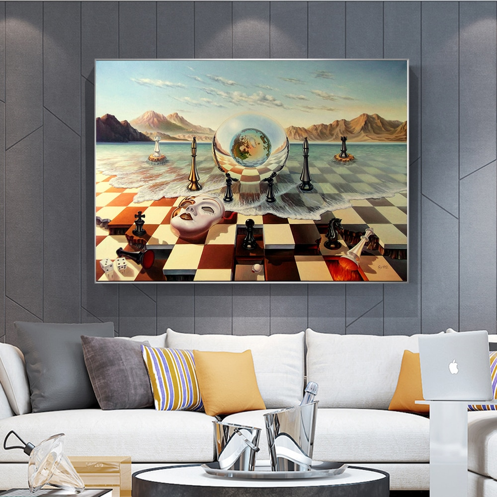 Surrealism Chess Mask On Sea Art Canvas Print Painting Salvador Dali Abstract Weird Wall Picture Home Decoration Poster
