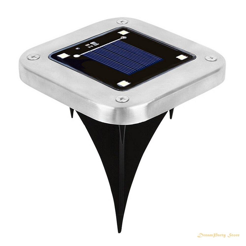 4 Uds LED solar cuadrado lámpara subterránea al aire libre nuevo enchufe de tierra lámpara de jardín lámpara de acero inoxidable fuente de luz lámpara de jardín