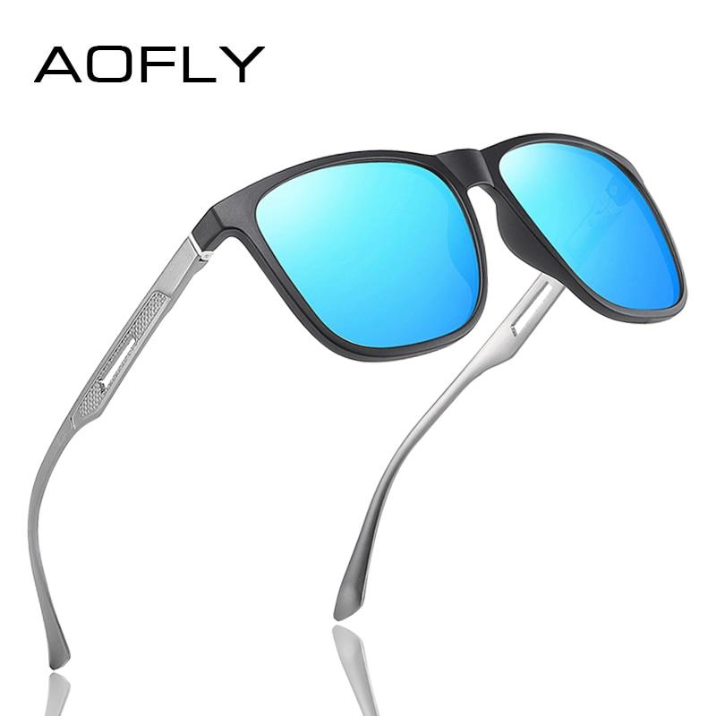 AOFLY DESIGN Square Men Sunglasses Polarized Aluminum magnesium Temple Fashion Driving Mirror Sun Glasses Male Fishing Goggle