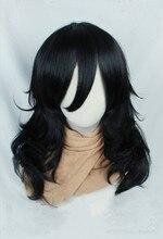 Anime my hero academia akademia shouta aizawa 45cm 블랙 웨이브 가발 내열성 코스프레 의상 가발 + 가발 모자