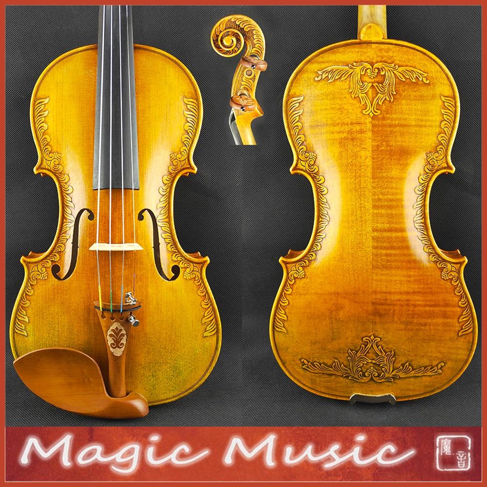 "With Beautiful Handcrafts! Strad Royal ""Fleur de Lys"" Violin Size 4/4 #2296, Excellent varnish style"