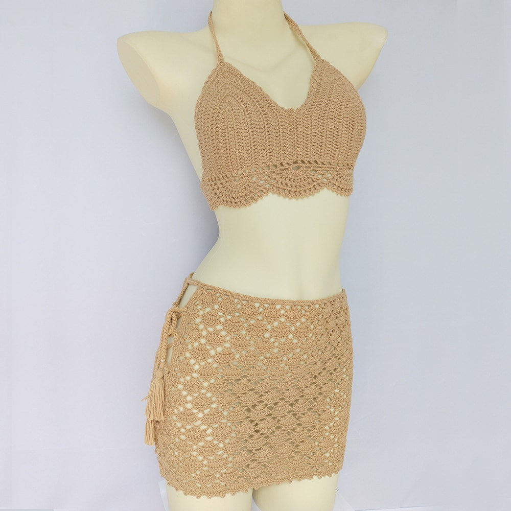 crochet insert hollow out top Summer Woman 2 Pieces Swimsuit Crochet Bikini Top With Chest Pad And Bandage Hollow Out Mid Waist Beach Skirt Bikini Cover Up
