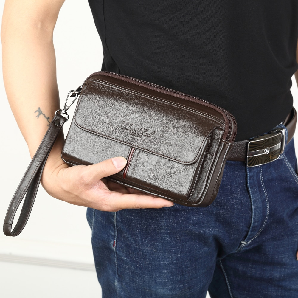 Men's Clutch Bags for men Genuine Leather Hand Bag Male Long Money Wallets Mobile Phone Pouch Man Pa